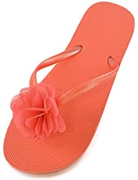 Damen/Mädchen Blumen Verzierungen Sommer/Strand Wear Zehentrenner in 3 Farben NEU KG3iY