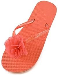 Damen/Mädchen Blumen Verzierungen Sommer/Strand Wear Zehentrenner in 3 Farben NEU