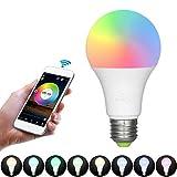 Decdeal Wifi Lampen 6.5W RGBW Farbige Leuchtmittel Intelligent LED Birne DIY Gruppenfunktion Steuerbar Via App