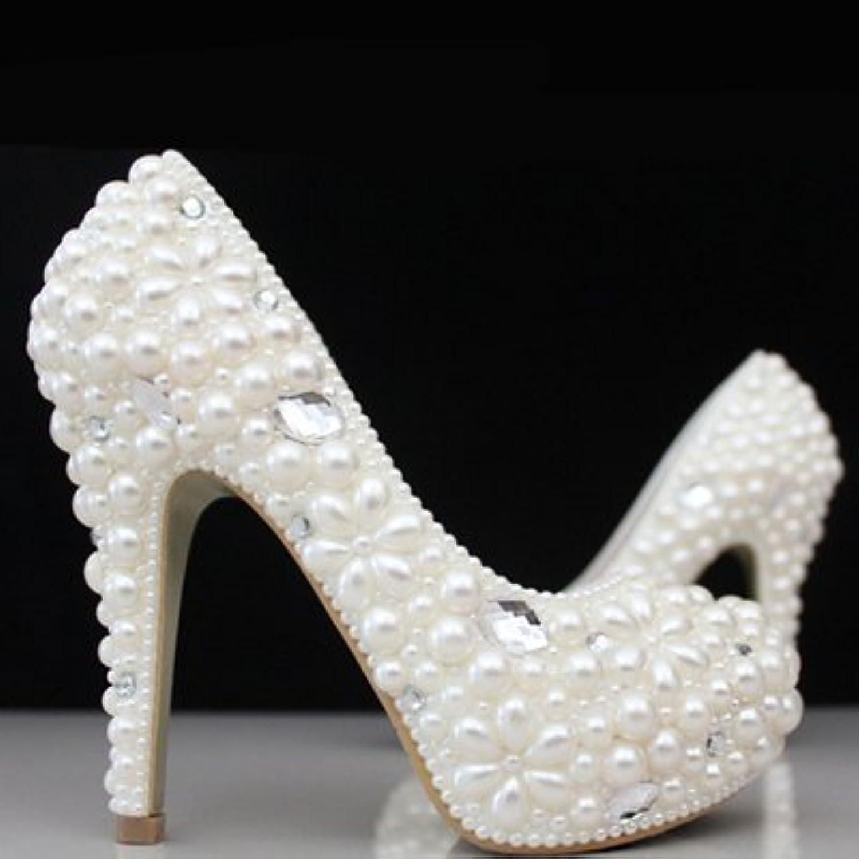 VIVIOO Prom Sandals Crystal scarpe scarpe scarpe Wedding scarpe Bride scarpe Wedding Pearl Water Drill bianca High Heel,8 | Sito Ufficiale  3ec78c