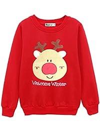 Pengniao Sudadera Navidad Sudaderas Navideñas Familiares Jersey Niño Niña  Sueter Navideño Hombre Mujer Reno Sweaters Estampadas 39ad8dc268c9