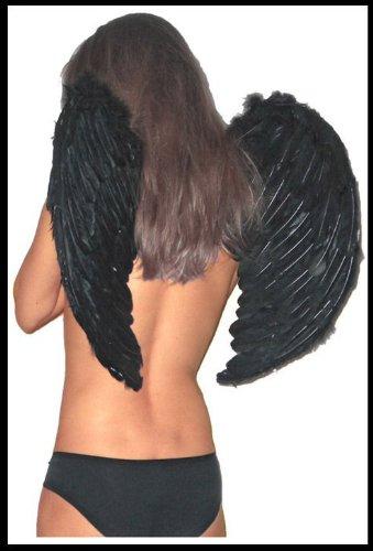 Engelsflügel SCHWARZ Engel Flügel 60 x 50 Dessous Fasching SCHWARZE (Engel Oder Teufel Kostüme)