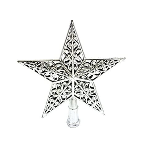 Tinksky Ausgehöhlter Weihnachtsbaum Top Schein Stern Glitzernder Hängender Weihnachtsbaum Topper Dekoration Ornamente Wohnkultur (Silber)