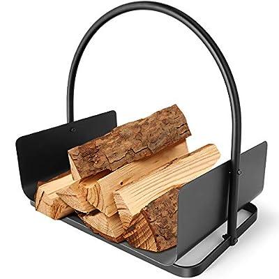 Amagabeli Fireplace Log Holder 17 x 12 x 17inch Firewood Holder Log Basket for Wood with Handles Steel Wood Cradle for Wood Stove Hearth Log Carrier for Kindling Indoor Outdoor Coal Holder