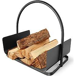 Amagabeli Panier à bûches 45 x 30 x 43cm Porte-bûches de cheminée panier bois de chauffage panier porte buche cheminee Support À Bois De Chauffage Acier panier bois de cheminée Intérieur/extérieur