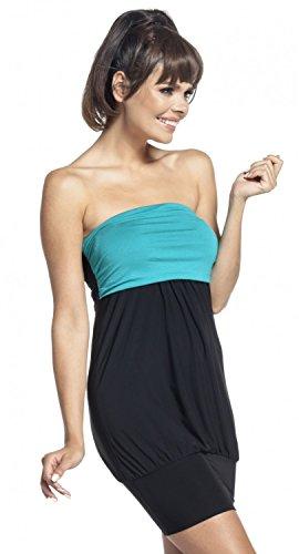 Zeta Ville - Taille empire plissé robe tube encolure bandeau - femme - 146z Noir & Sarcelle
