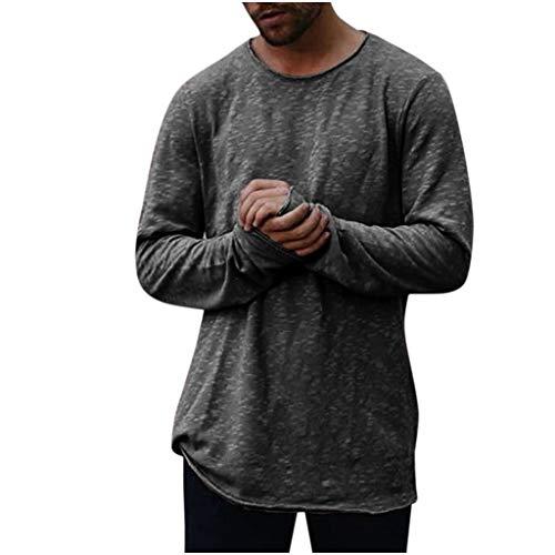 Sweatshirt Herren Solid O Neck Langarm T-Shirt Top Slim Bluse Langarmshirt Rundhals Classics Herren T-Shirt