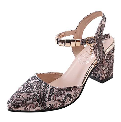 Damen Retro Plateau High Heel Pumps,Frauen Bequeme Promi-Stil Damen Blockabsatz Mary Jane Pumps Spitz Roma Schuhe Hochzeit Brautschuhe TWBB