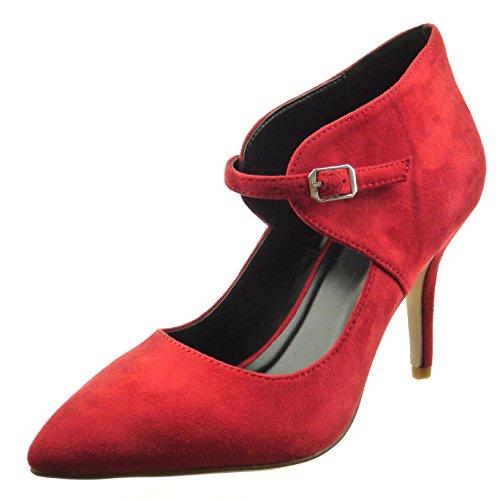 Sopily - Scarpe da Moda scarpe decollete alla caviglia donna Tacco Stiletto tacco alto 9 CM - Rosso FRF-8-YX-10 T 36