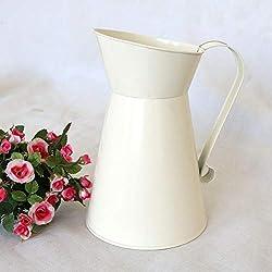 Gemini_mall Vase en fer en forme de bouilloire pour décoration de maison blanc