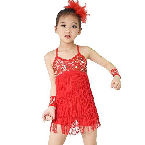 hen, Oder So Was Pailletten Quasten Latin Dress Tanz Kostüm (LC, Rot) ()