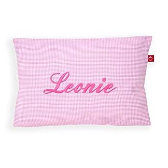 Kissen mit Namen Kinder Mädchen Vichy Karo rosa (Geburtsgeschenk: Dekokissen fürs Kinderzimmer)