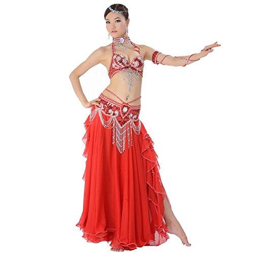 Wgwioo Dance costumes Bauch tanzen Performance Frau Handmade Diamant perlen Pailletten BH Rock quaste gürtel modern trainieren kostüm red l