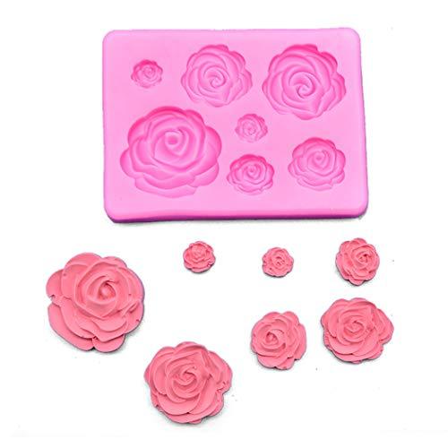 Upxiang Rose Flower Silikonform Fondantform Kuchen Dekorieren Tools Schokoladenform Küche Baking Tool Kind Geschenk (Rosa) (Schokoladenform Rose)