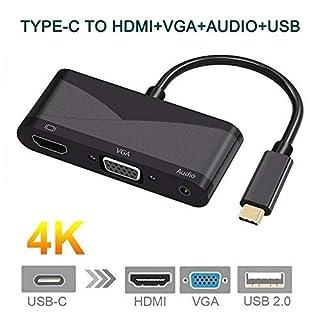 VANSENG USB Typ C auf HDMI VGA Adapter, USB 3.1 Typ C zu 1080P VGA 4K HDMI mit PD Laden 3.5mm Audio USB 3.0 für MacBook/ChromeBook Pixel USB C HDMI VGA Konverter