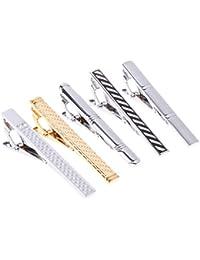 Dabixx 5 Piezas Clip de Corbata para Hombre, Hombres Clips de Corbata Tipo Mixto Barra Aleación Moda Estilo clásico Accesorio de Negocios