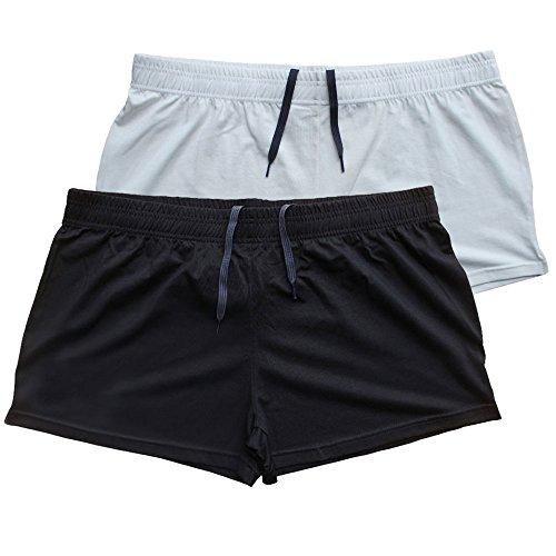 Musclealive Herren Fitnessstudio Bodybuilding Trainieren Kurze Hose Baumwolle Men Shorts Style A Black+White, 3 inseam Thin Fabric Without Pockets