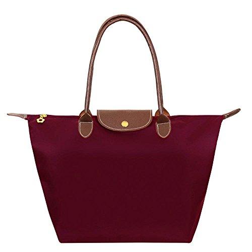 Shopper Tasche Groß, Meersee Wasserdichtes Nylon Shopper Schultertasche Umhängetasche Damen Handtasche Tote Tasche (M, Rouge) (Nylon-zwei Tasche Tote)