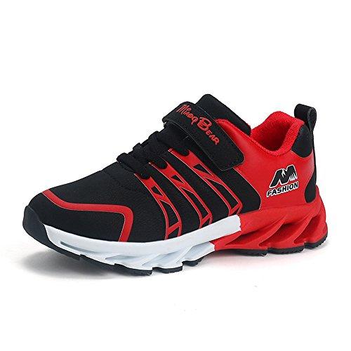 SITAILE Unisex- Kinder Sportschuhe Atmungsaktiv Sneaker Laufschuhe Shuhe Klettverschluss Bequeme Turnschuhe Wanderschuhe Shoes für Jungen Mädchen Outdoor,Schwarz,37