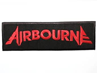 "AIRBOURNE Red Logo Iron On Sew On Embroidered Rock Metal Patch Approx: 4.5""/12cm x Approx: 1.4""/3.6cm By SSLINK"