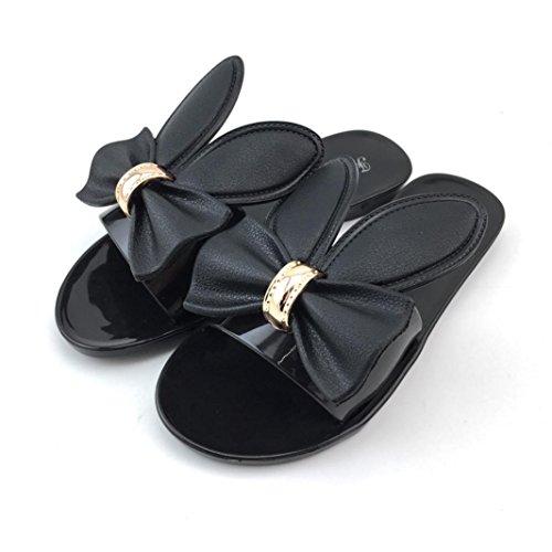 Ouneed® Femme Etanche Mules Plate Flip Flops Femme Jelly Pantoufles Noir