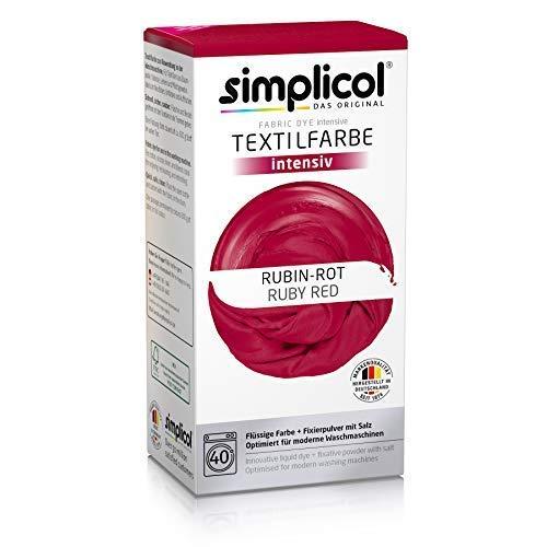 Simplicol Textilfarbe intensiv (18 Farben), Rubin-Rot 1804, Dunkelrot: Einfaches Färben in der Waschmaschine, All-in-1 Komplettpackung