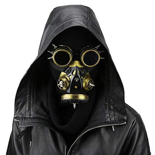 LUCKME Steampunk Gas Mask, Retro Windproof Goggles Gothic Cyberpunk Respirator for Masquerade Cosplay Halloween Kostümprops,Gold (Cyberpunk Halloween Kostüm)
