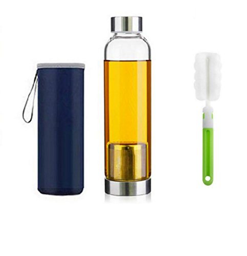 550ml Botella de té de vidrio portátil y con estilo con cesta de fil