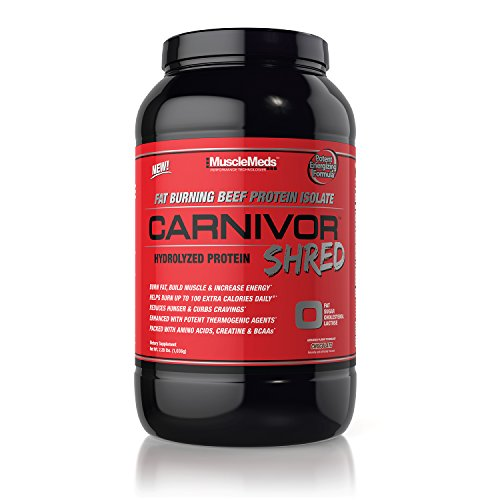 MuscleMeds Carnivor Shred Fat Burning Hydrolized Beef Protein Isolate, Chocolate, 2.28 Pound - 41mcwTIcdCL
