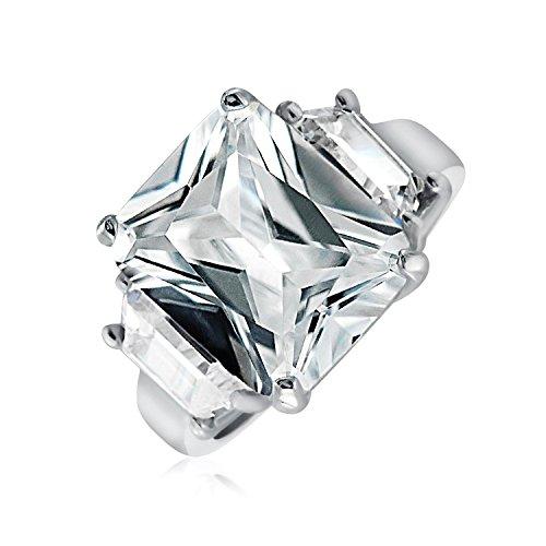Bling Jewelry Art Deco 925 Sterlingsilber 5Ct AAA CZ Rechteck Smaragdschliff Erklärung Verlobungsring Baguette Seite Steine