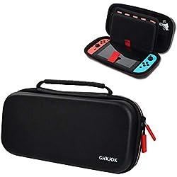AOLVO - Funda de transporte para Nintendo Switch, resistente al agua, bolsa para interruptor de viaje para Nintendo con 20 soportes para tarjetas de juego integrados, accesorios de consola de juego, bolsa de almacenamiento EVA negro (10,6 x 5,5 x 2,6 pulgadas)