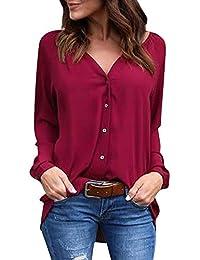 Chemise Femme Chemisier Mousseline de Soie Button Up T-Shirt Solide Tunique Femme  Chic Manches Longues Lâche Tops Blouse Casual Pull Haut… 4745a22b77ae