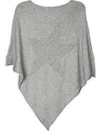 b84eb7afb styleBREAKER fine-Knit Poncho with Star in 3D Structure, Round Neck, Ladies  08010051