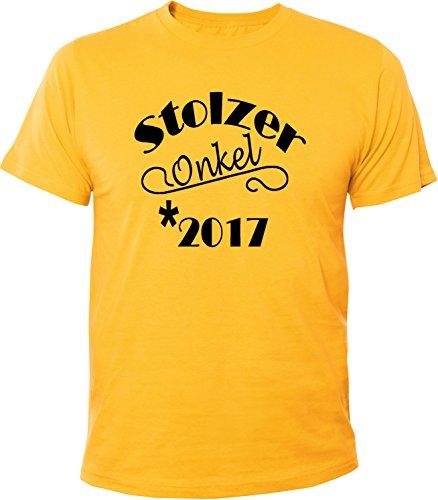 Mister Merchandise Herren Men T-Shirt Stolzer Onkel 2017 Tee Shirt bedruckt Gelb