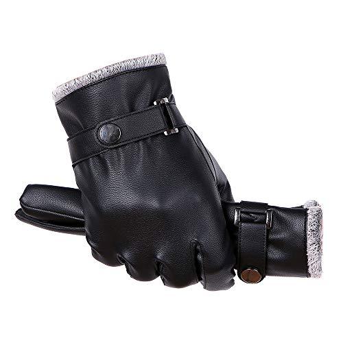 (TEBAISE Damen Faux Leder Handschuhe Touchscreen Winter Warm Langes Handschuhe Luxury Ladies Weichen Faux Lederhandschuhe mit Bowknot-Stich-Entwurf Fäustlinge Damen Uhr)
