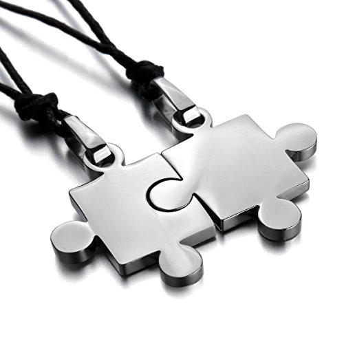 MunkiMix 2 PCS Acciaio Inossidabile Pendente Ciondolo Collana Argento Jigsaw Puzzle Amore San Paar Lui & Lei Set Regolabile 20~22 Pollici Catena Catenina Uomo,Donna