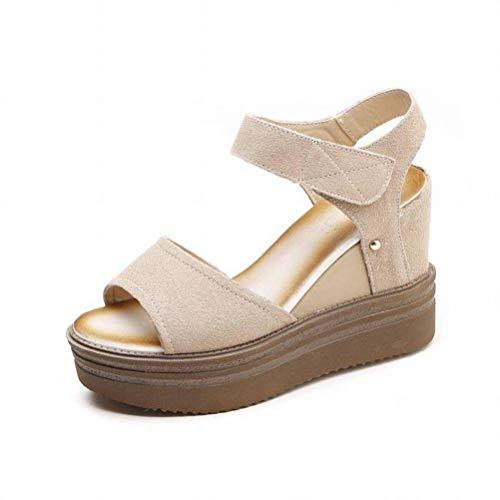 Women Sandals Scarpe con la Bocca di Pesce con Plateau e Scarpe col Tacco Alto e Opache Casual da Donna, Buff, 34