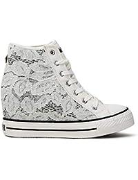CafèNoir Sneakers per Donna in Tessuto macramè Bianco Zeppa Interna 7cm 124eb57e879