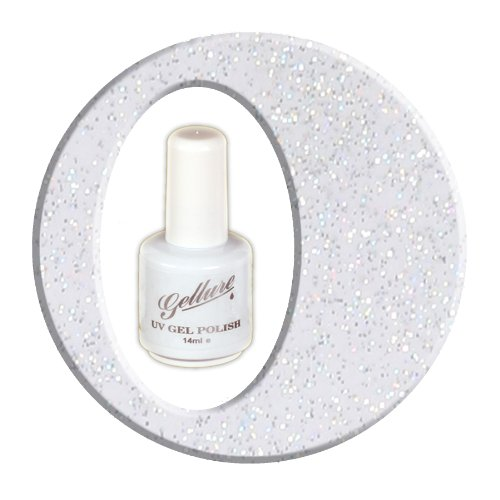 #12 Gellure U.V & L.E.D Gel Nail Polish - GlitterBall - Semi Sheer Holographic Silver Metallic Glitter. A beautiful colour worn alone or use for layering over other Gellure colours for that touch of sparkle. by Gellure
