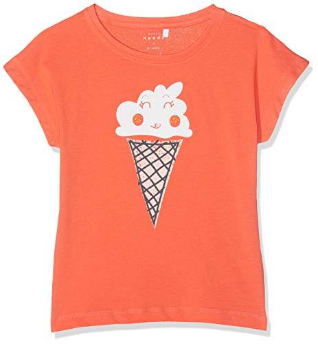 NAME IT Mädchen NMFVEGAS CAPSL TOP J T-Shirt, Orange (Emberglow), (Herstellergröße: 110)