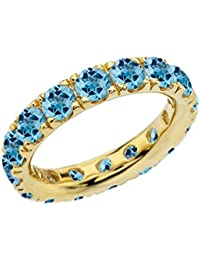4mm Comfort Fit 10 ct Yellow Gold Eternity Band With 5.25 ct December Birthstone Genuine Blue Topaz