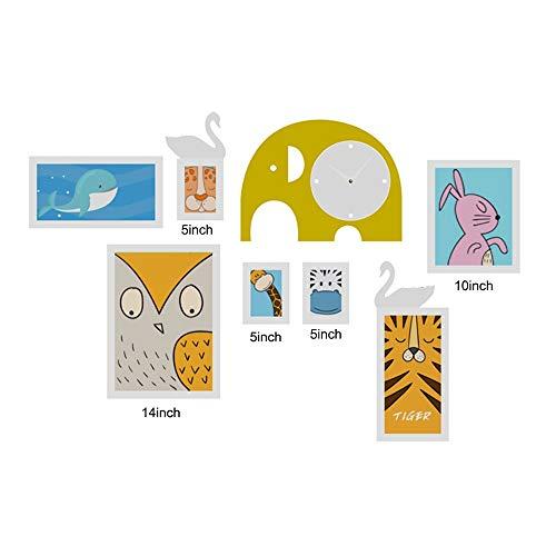 LNLW Reloj de Madera de la Pared de la Foto del Marco de la Foto de Madera calurosa del Elefante for el Collage de la Familia ( Size : 7pieces )