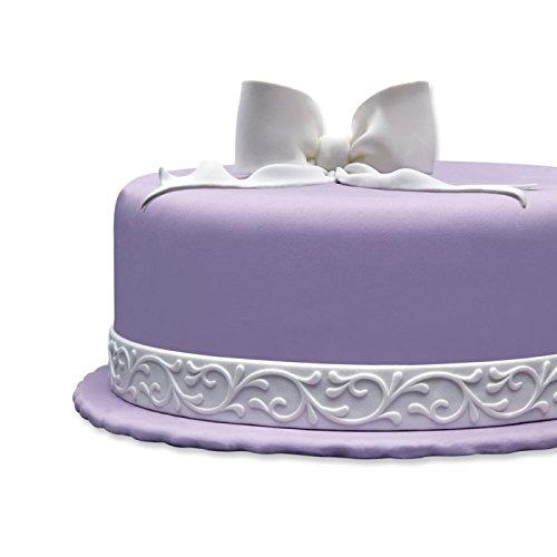 Cake Company Fondantrand | Fondant Bordüre in 1,25 m | 1 Stück | Fondant Band in Weiß | Tortenband mit durchgehender Ranke | Fondant Deko für...