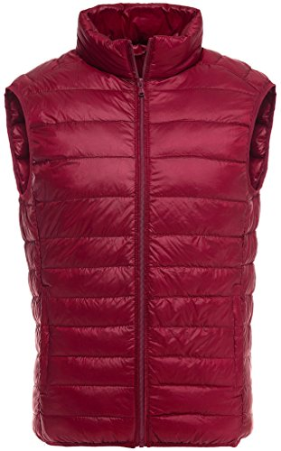 Sawadikaa Herren Übergröße Ultra Leicht Verpackbar Kissen Puffer Daunen Weste Winter Jacke Rot XX-Large (Nylon-daunen-jacke)