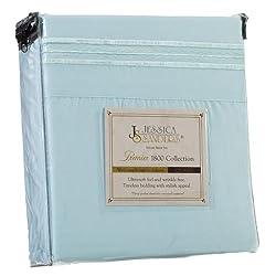 Jessica Sanders Premier 1800 Series 3pc Bed Sheet Set- Twin (Single), Light Blue Aqua, (75