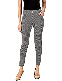 Infispace Women's Blended Soft Comfortable High Waist Striped Jegging Workplace Wear (SHAD33-115, White, Medium Size)