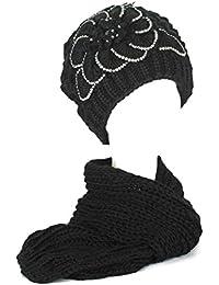 Kappe/Hüte/Mütze Damen/Frauen Mädchen Gestrickt Bestickt Blütenblätter Strickschals/Schal Set mit Strasssteine