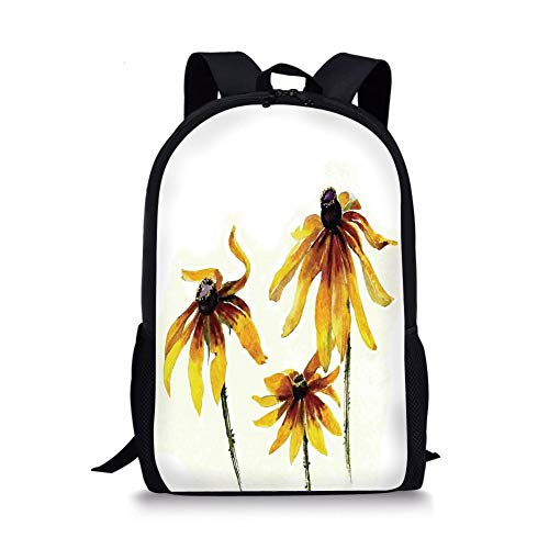 School Bags Watercolor Flower,Garden Daisy Flowers in Soft Painting Effect Dramatical Nature Graphic Decorative,Yellow White for Boys&Girls Mens Sport Daypack -
