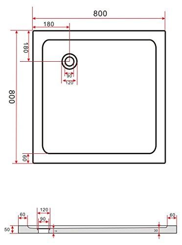 80×80 Duschtasse Duschwanne Extra Flach 50 mm Rechteck Weiß - 2