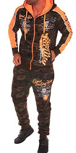 Unbekannt Herren Fitness Jogginganzug Sportanzug Trainingsanzug (S, Camouflage-Orange (2225)) Orange Camouflage